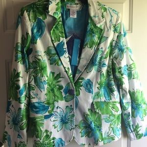 NWT Susan Graver Style Floral Jacket 16